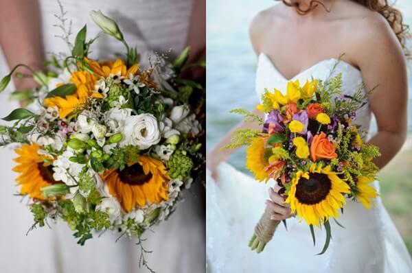 Rich Sunflower Wedding Bouquets