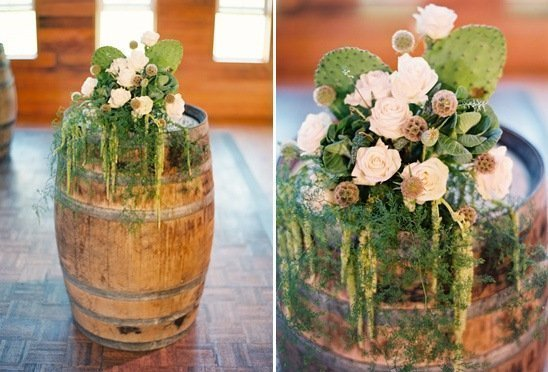 Barrels planted with flowers