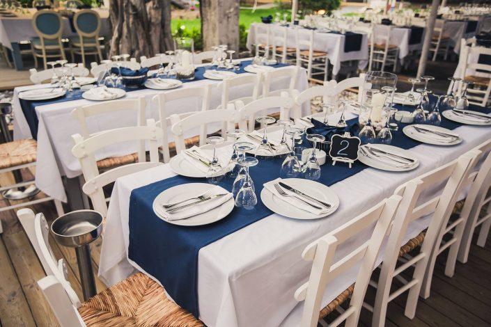 Blue-white wedding board outside wedding