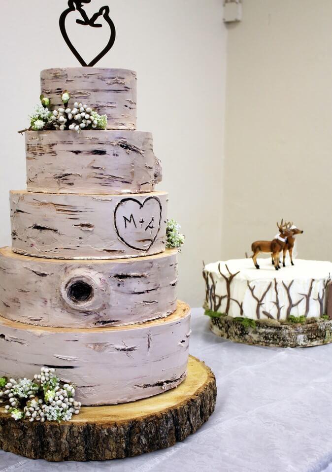 Five layer wedding cake made by birch