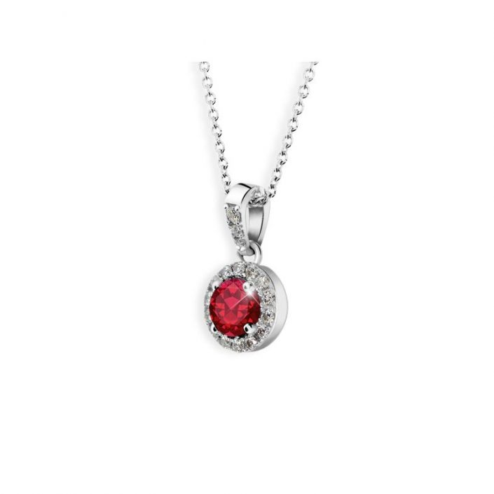 Golden women charm white gold ruby with diamonds