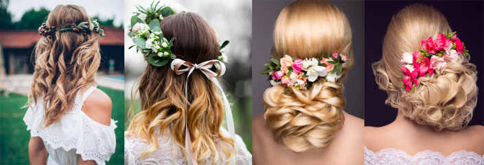 Hairstyles with wreath and flower