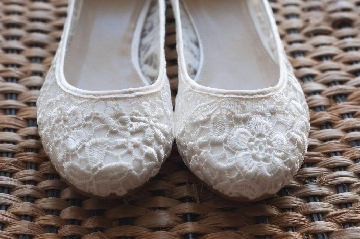 Lace wedding ballerinas