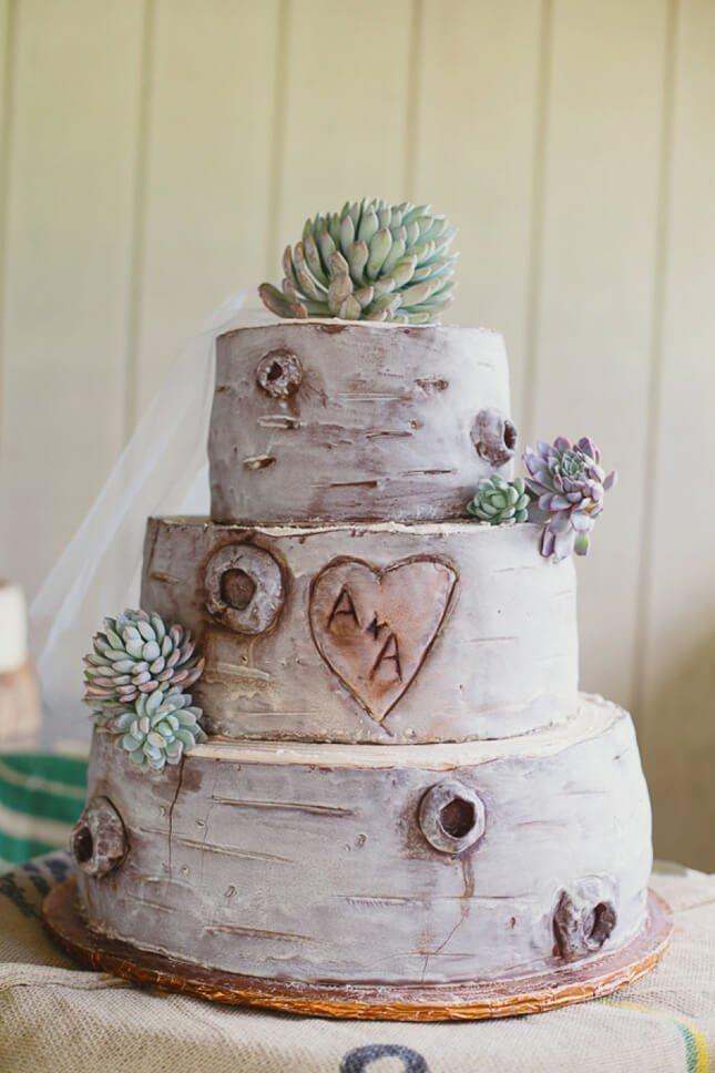Layer cake with wood imitation