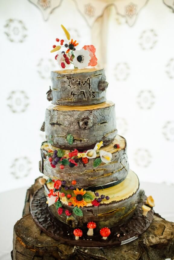 Layer wooden cake decorated with flowers