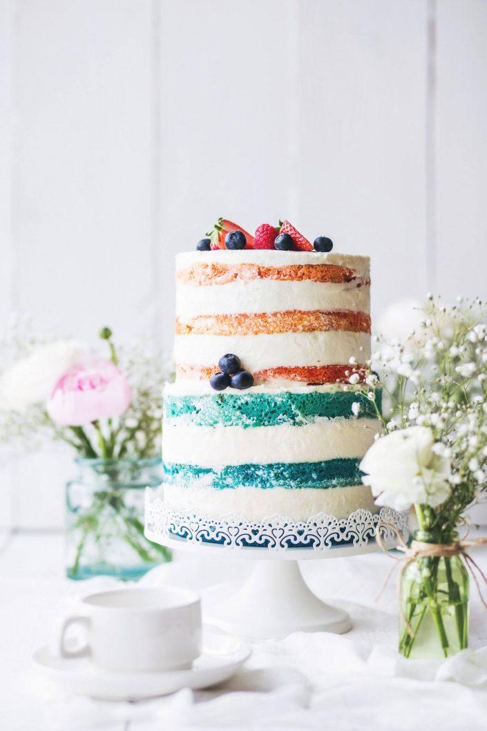 Layered wedding cake with berries