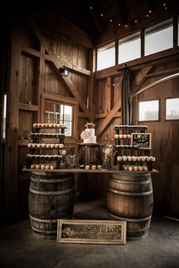 Rustic use of wedding barrels