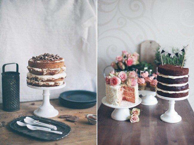 Small naked wedding cakes