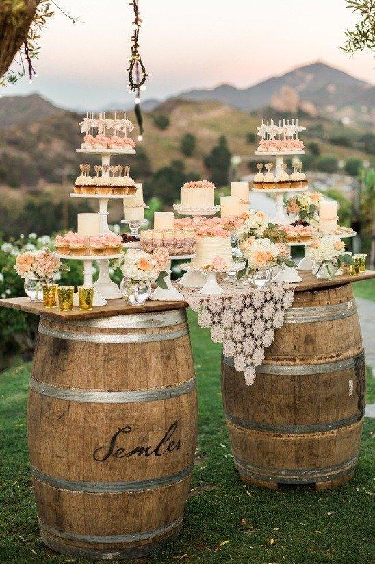 Wedding snack on barrel