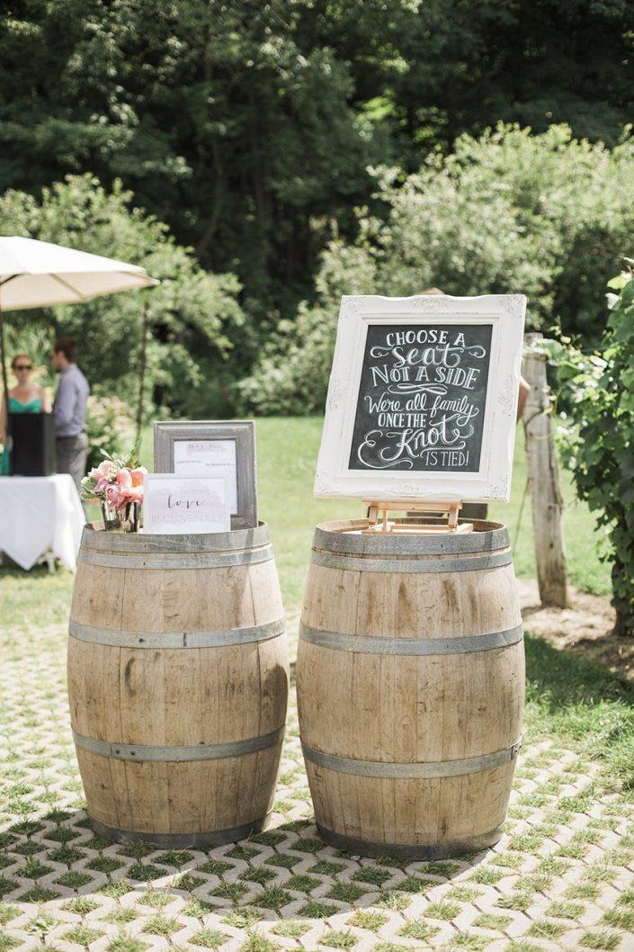 Wooden barrel on wedding
