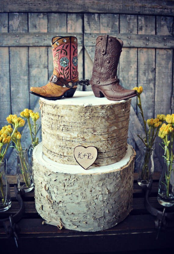 Wooden wedding cake with country shoes