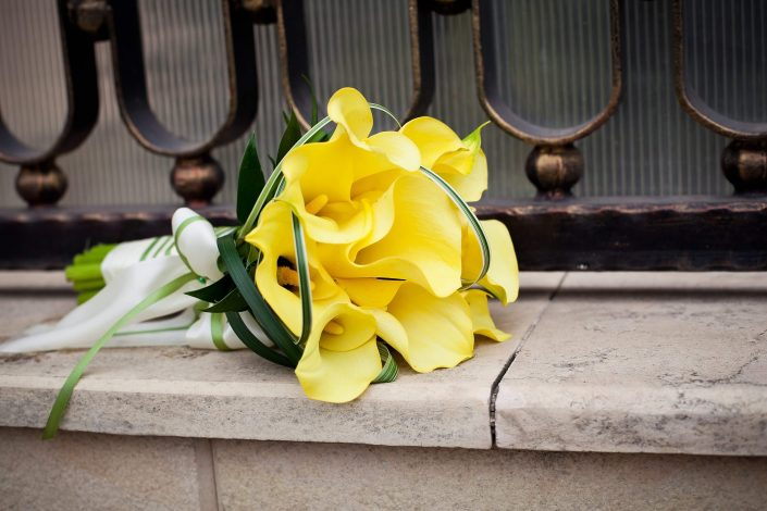 Bouquet of yellow calla lilies