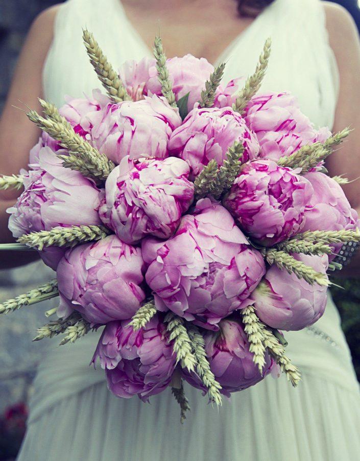 peony wheat bouquet