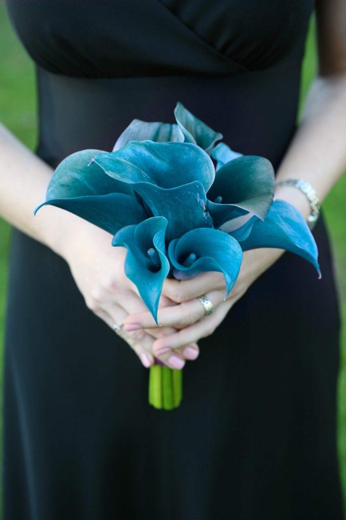 wedding bouquet of blue calla lilies