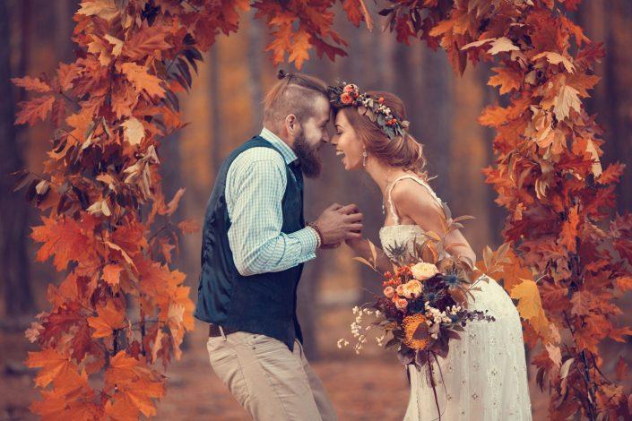 wedding gate at fall wedding